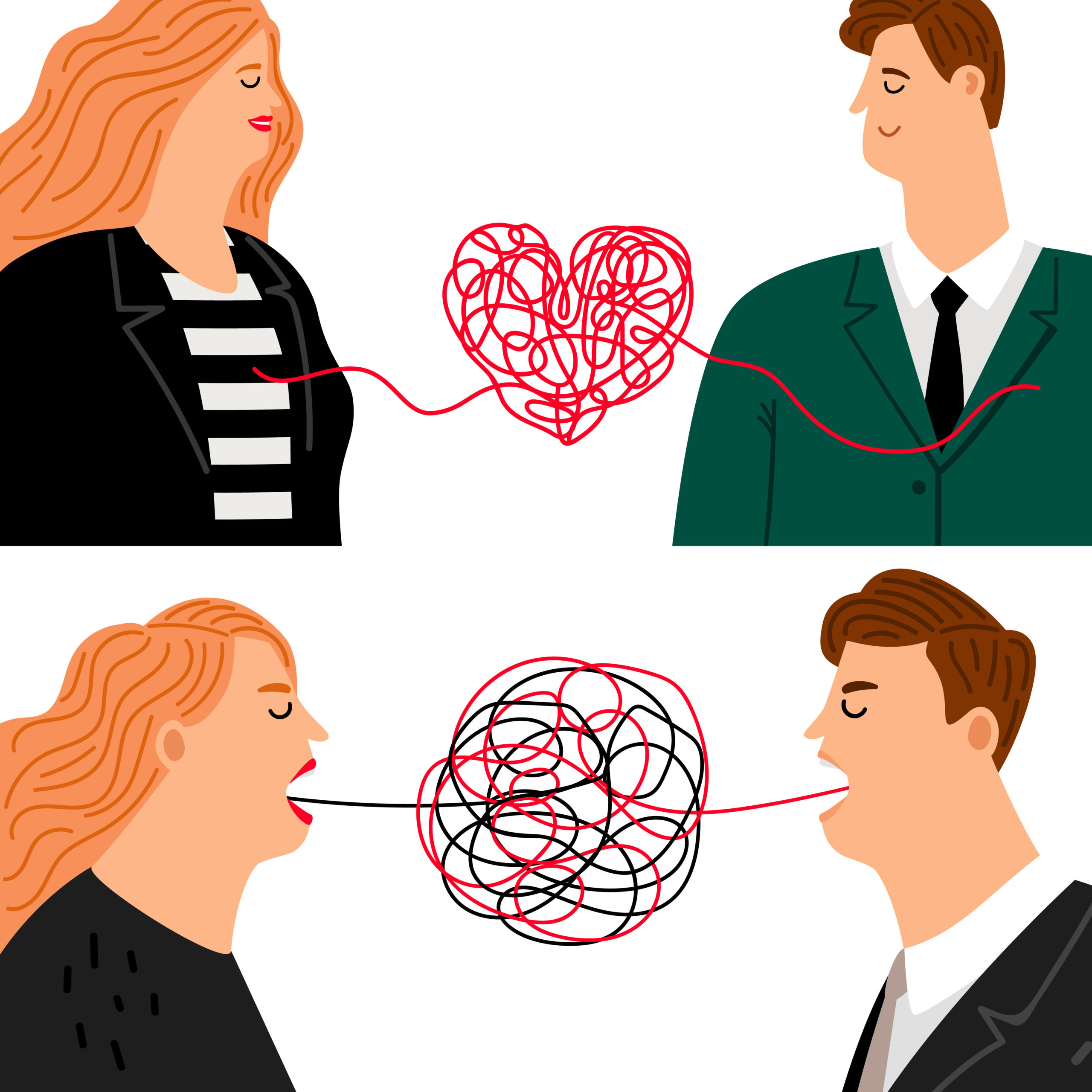 Love hate man and woman. Angry sad wife and husband characters and marriage couple in love, emotions and relationships concepts, vector illustration
