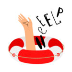Lifebuoy and hand to call for help. Lifebuoy and help, emergency and rescue. Vector illustrati